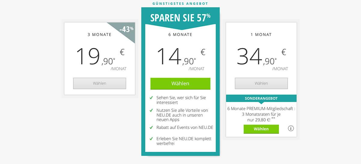 NEU.DE-Kosten